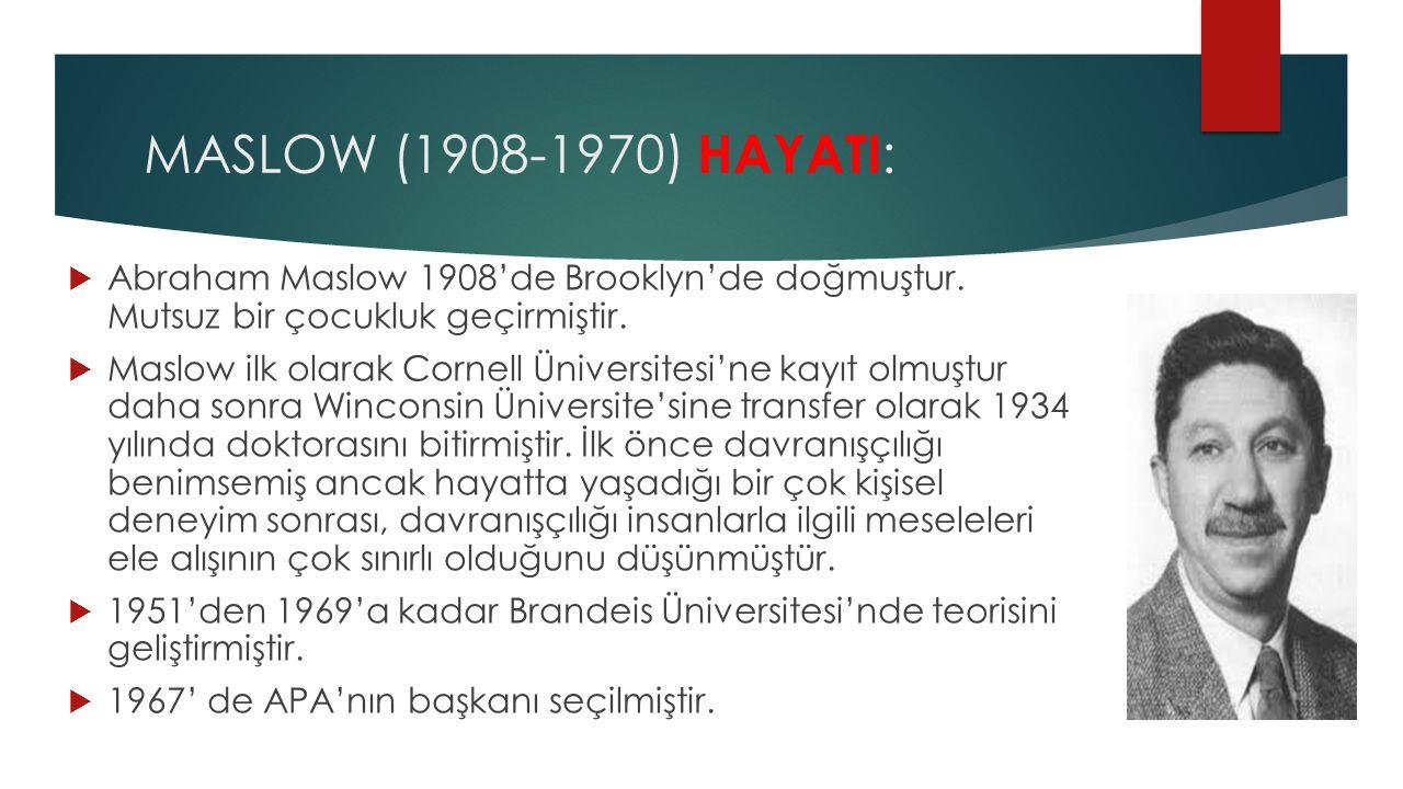 MASLOW (1908-1970) HAYATI: Abraham Maslow 1908'de Brooklyn'de doğmuştur. Mutsuz bir çocukluk geçirmiştir.