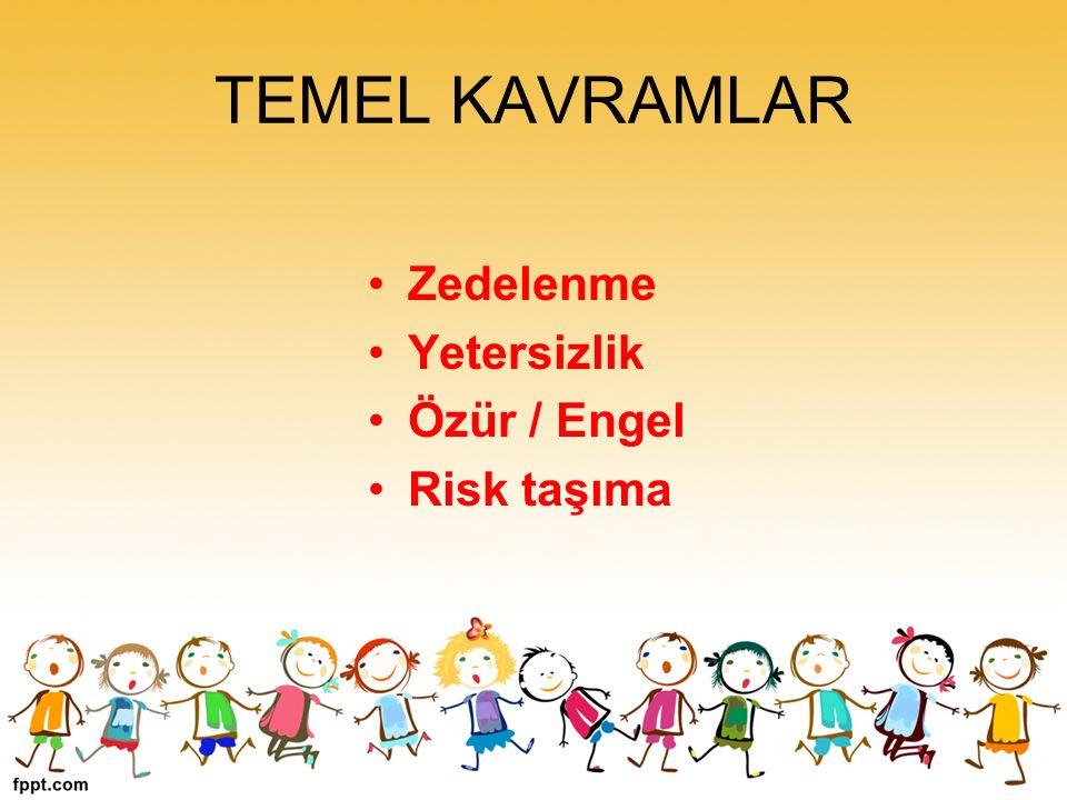 TEMEL KAVRAMLAR Zedelenme Yetersizlik Özür / Engel Risk taşıma