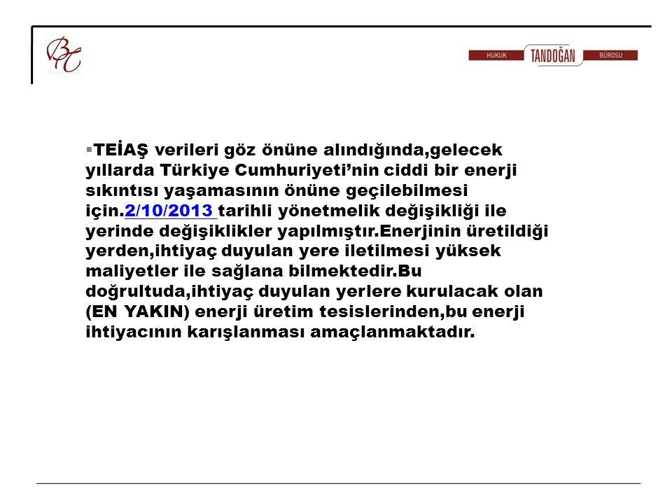 TEİAŞ verileri göz önüne alındığında,gelecek yıllarda Türkiye Cumhuriyeti'nin ciddi bir enerji sıkıntısı yaşamasının önüne geçilebilmesi için.2/10/2013 tarihli yönetmelik değişikliği ile yerinde değişiklikler yapılmıştır.Enerjinin üretildiği yerden,ihtiyaç duyulan yere iletilmesi yüksek maliyetler ile sağlana bilmektedir.Bu doğrultuda,ihtiyaç duyulan yerlere kurulacak olan (EN YAKIN) enerji üretim tesislerinden,bu enerji ihtiyacının karışlanması amaçlanmaktadır.