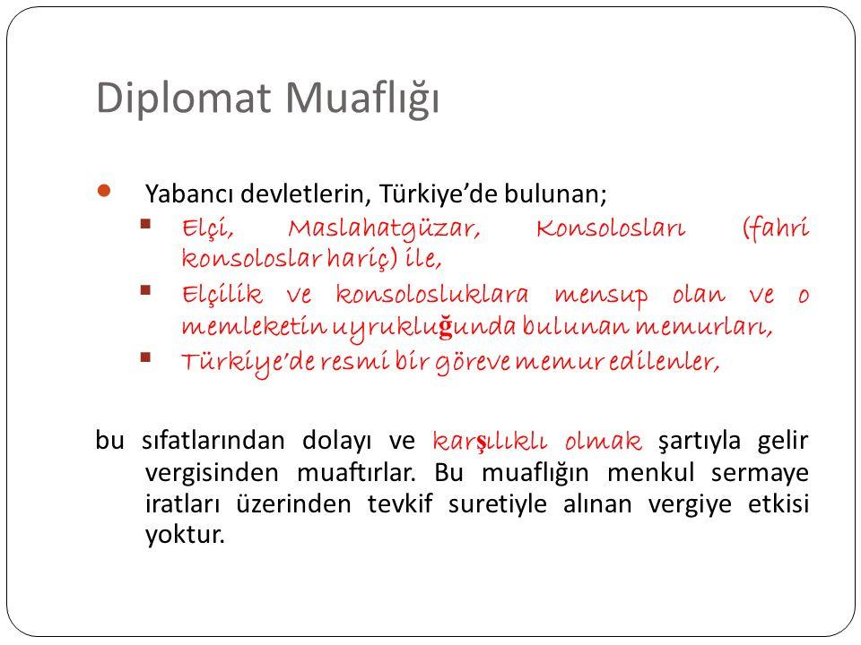 Diplomat Muaflığı Yabancı devletlerin, Türkiye'de bulunan;