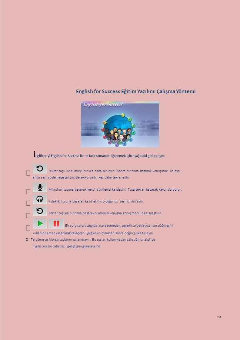 English for Success Eğitim Yazılımı Çalışma Yöntemi
