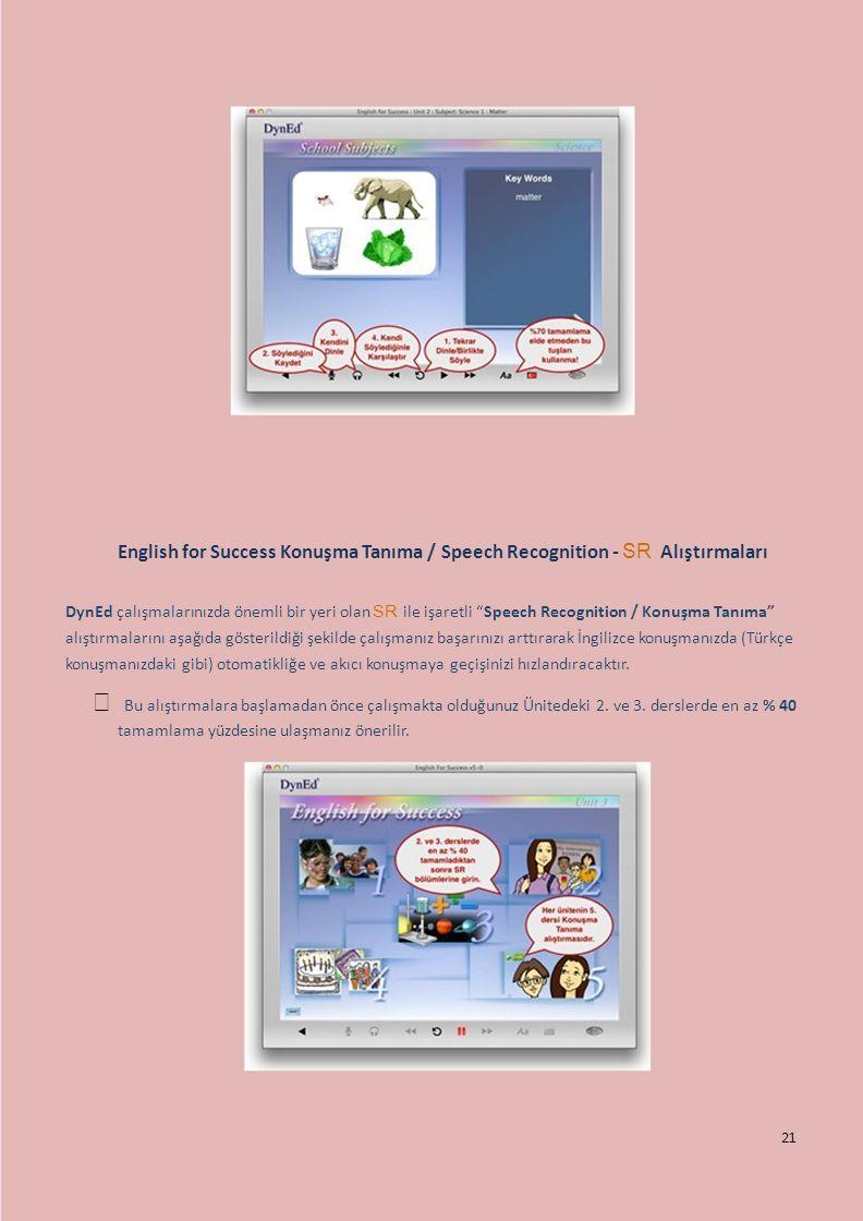 English for Success Konuşma Tanıma / Speech Recognition - SR Alıştırmaları