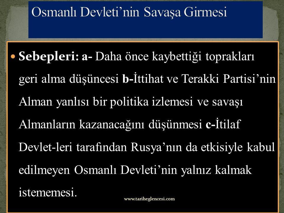 Osmanlı Devleti'nin Savaşa Girmesi