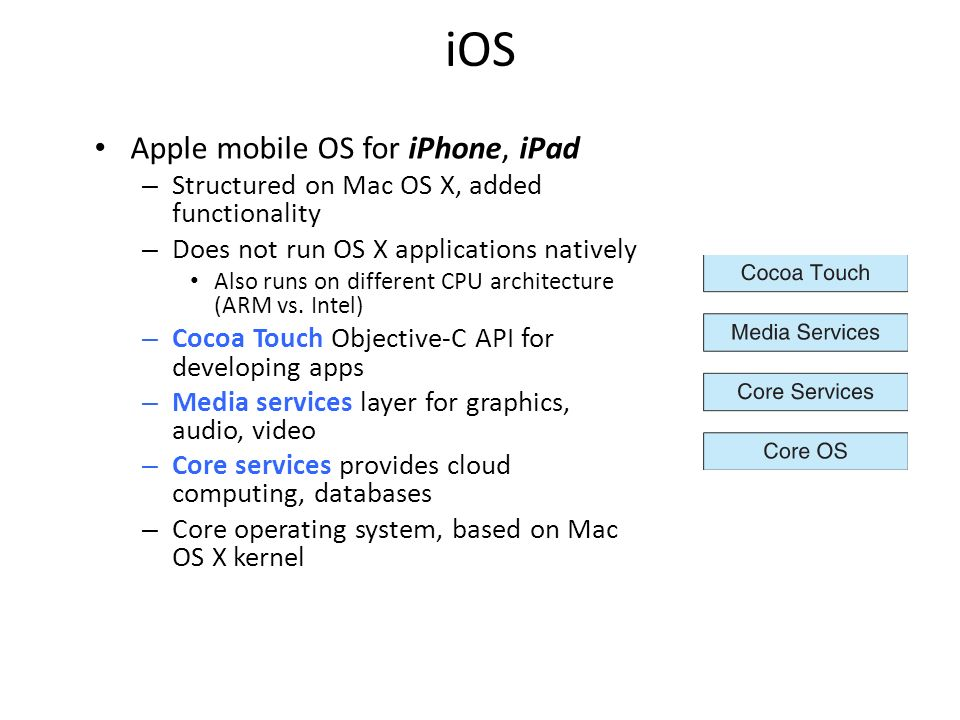 iOS Apple mobile OS for iPhone, iPad