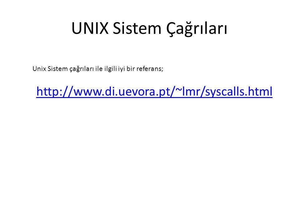 UNIX Sistem Çağrıları http://www.di.uevora.pt/~lmr/syscalls.html