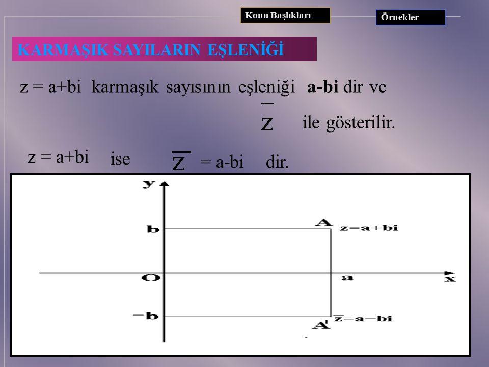 z = a+bi karmaşık sayısının eşleniği a-bi dir ve