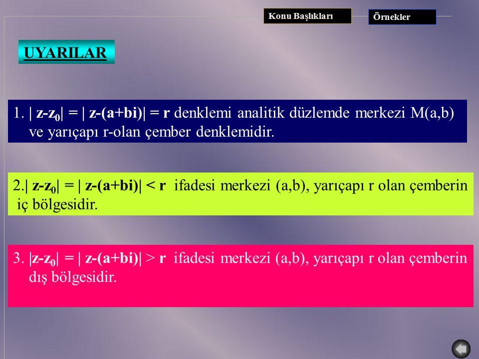 1. | z-z0| = | z-(a+bi)| = r denklemi analitik düzlemde merkezi M(a,b)
