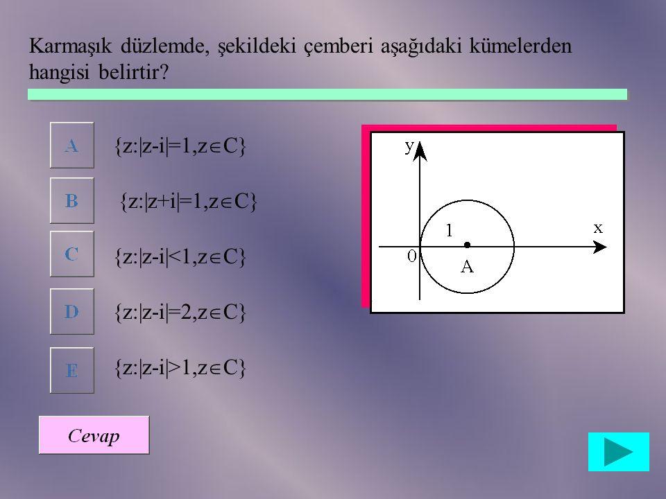 Karmaşık düzlemde, şekildeki çemberi aşağıdaki kümelerden hangisi belirtir