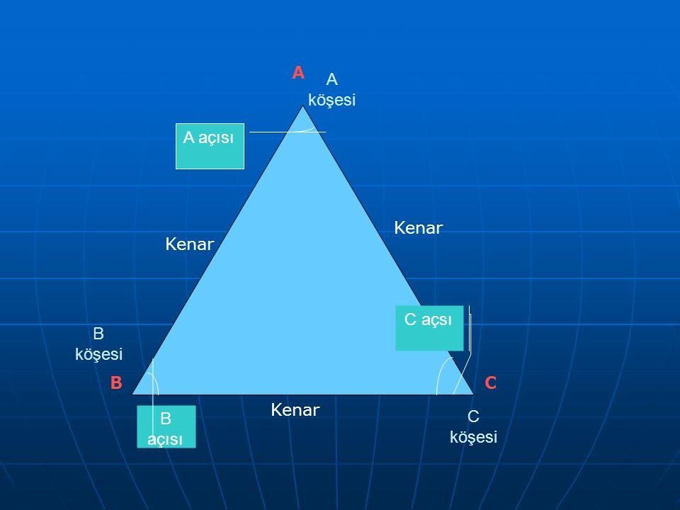 A A köşesi A açısı Kenar Kenar C açsı B köşesi B C Kenar B açısı C köşesi