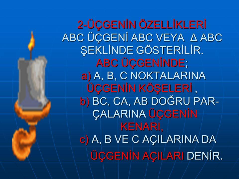 2-ÜÇGENİN ÖZELLİKLERİ ABC ÜÇGENİ ABC VEYA Δ ABC ŞEKLİNDE GÖSTERİLİR