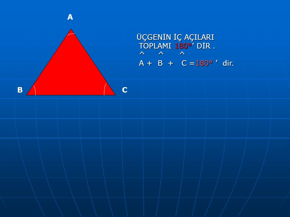 A ÜÇGENİN İÇ AÇILARI TOPLAMI 180°' DİR . ^ ^ ^ A + B + C =180° ' dir. B C