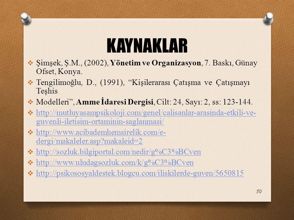 KAYNAKLAR Şimşek, Ş.M., (2002), Yönetim ve Organizasyon, 7. Baskı, Günay Ofset, Konya.