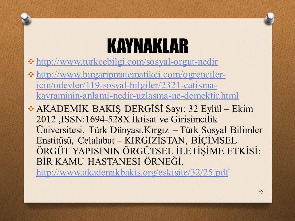 KAYNAKLAR http://www.turkcebilgi.com/sosyal-orgut-nedir