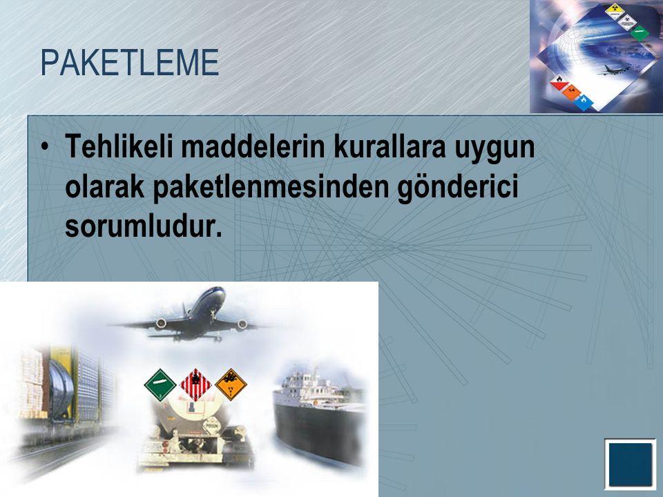 PAKETLEME Tehlikeli maddelerin kurallara uygun olarak paketlenmesinden gönderici sorumludur.