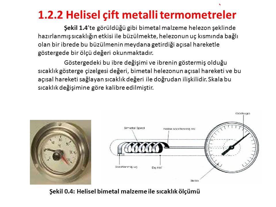 1.2.2 Helisel çift metalli termometreler
