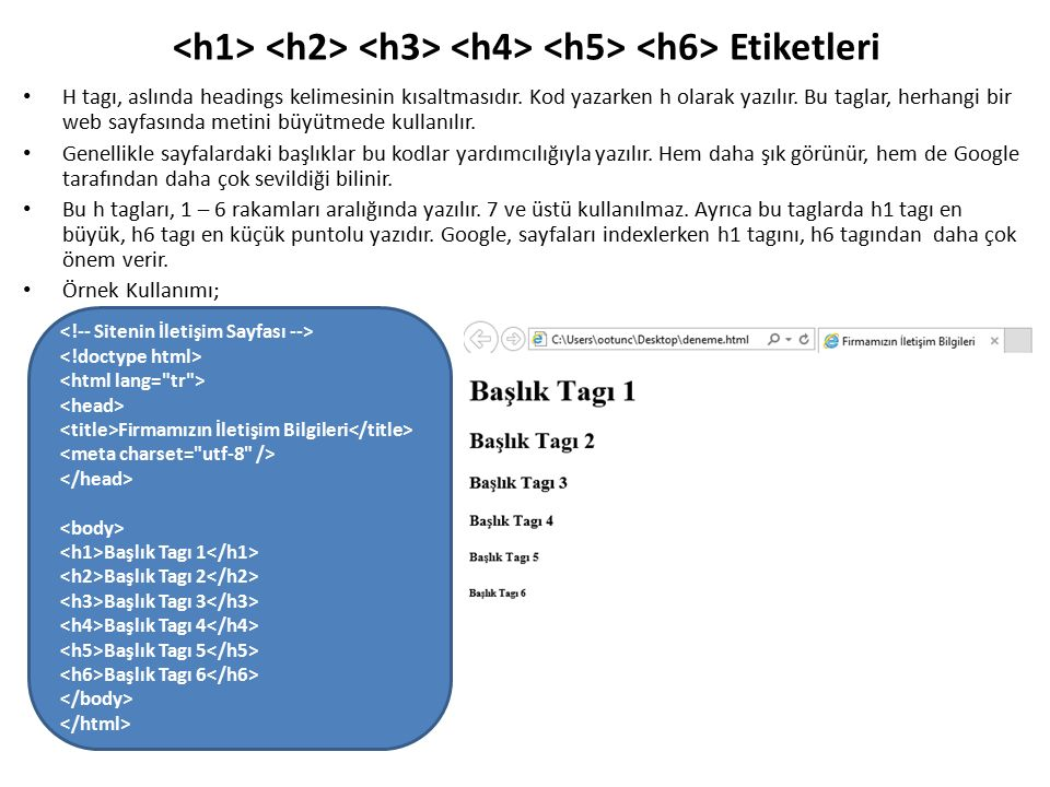 <h1> <h2> <h3> <h4> <h5> <h6> Etiketleri