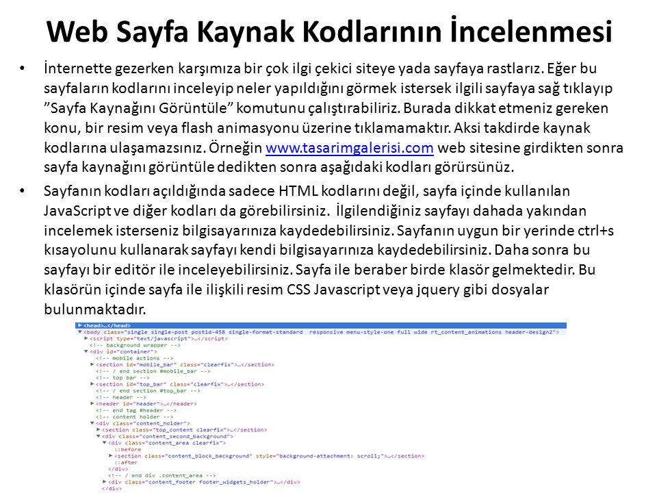 Web Sayfa Kaynak Kodlarının İncelenmesi
