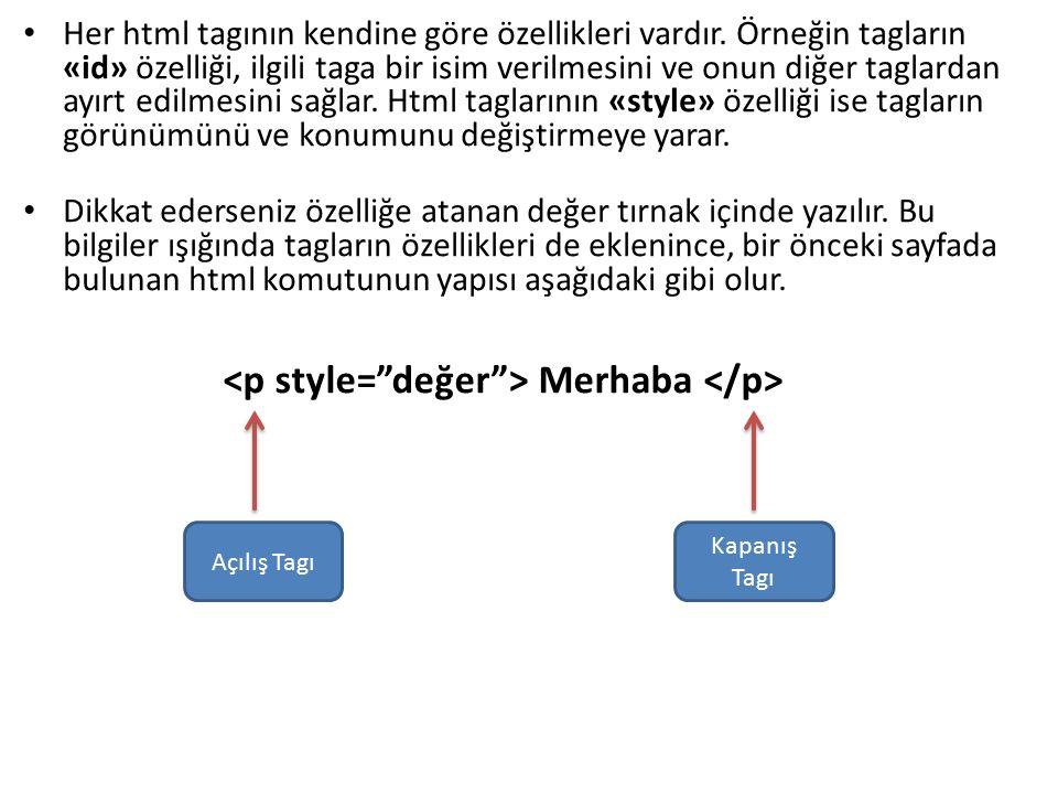 <p style= değer > Merhaba </p>