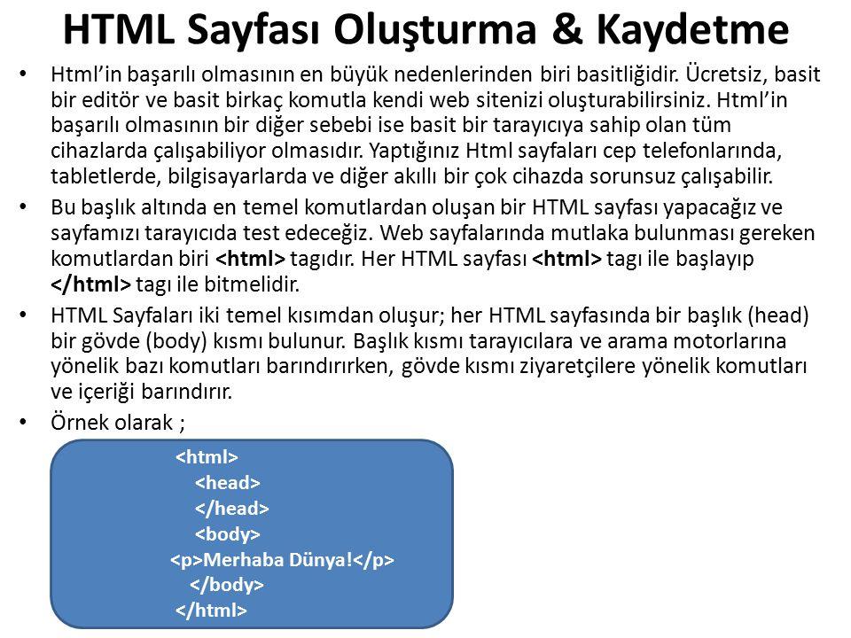 HTML Sayfası Oluşturma & Kaydetme