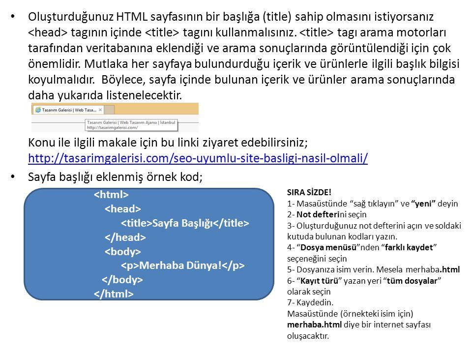 Sayfa başlığı eklenmiş örnek kod;