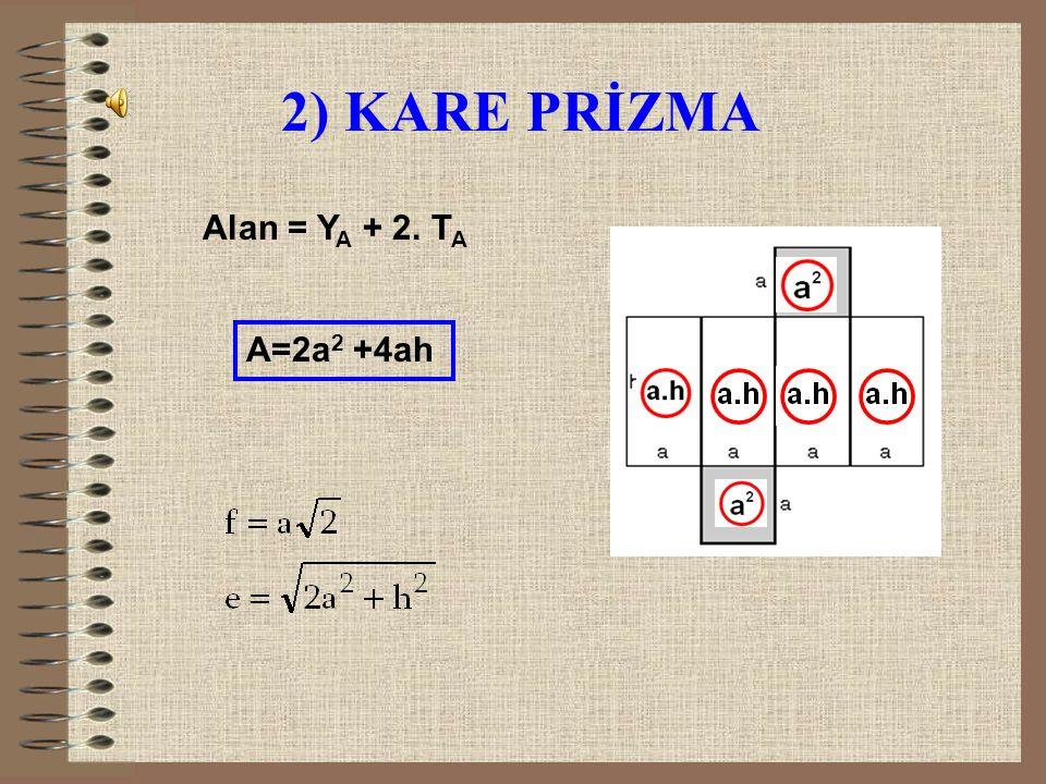 2) KARE PRİZMA Alan = YA + 2. TA A=2a2 +4ah