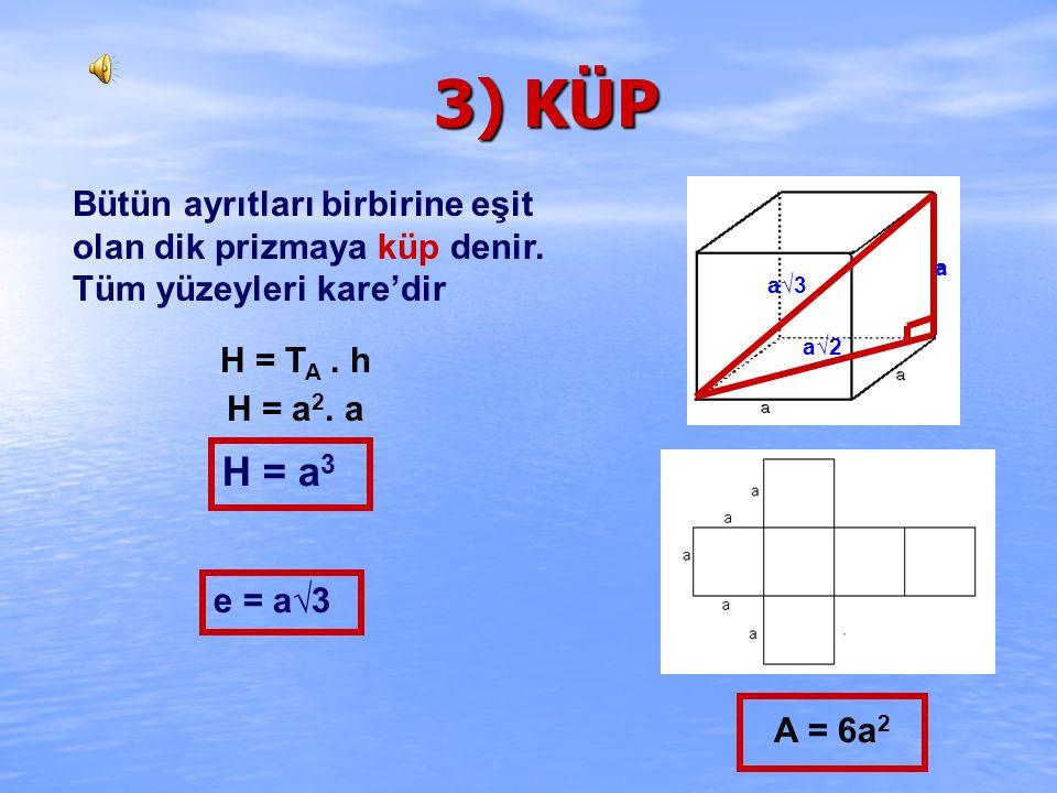 3) KÜP Bütün ayrıtları birbirine eşit olan dik prizmaya küp denir. Tüm yüzeyleri kare'dir. a. a√3.