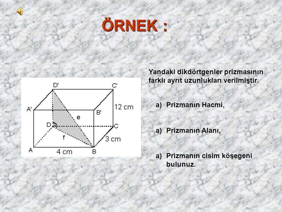 ÖRNEK : Yandaki dikdörtgenler prizmasının farklı ayrıt uzunlukları verilmiştir. Prizmanın Hacmi, Prizmanın Alanı,