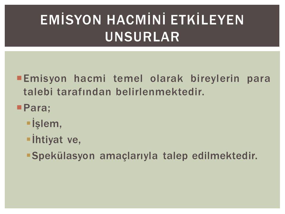 EMİSYON HACMİNİ ETKİLEYEN UNSURLAR
