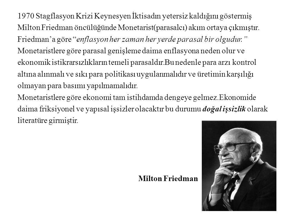 1970 Stagflasyon Krizi Keynesyen İktisadın yetersiz kaldığını göstermiş Milton Friedman öncülüğünde Monetarist(parasalcı) akım ortaya çıkmıştır.