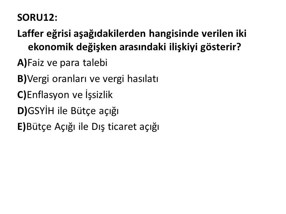 SORU12: Laffer eğrisi aşağıdakilerden hangisinde verilen iki ekonomik değişken arasındaki ilişkiyi gösterir.