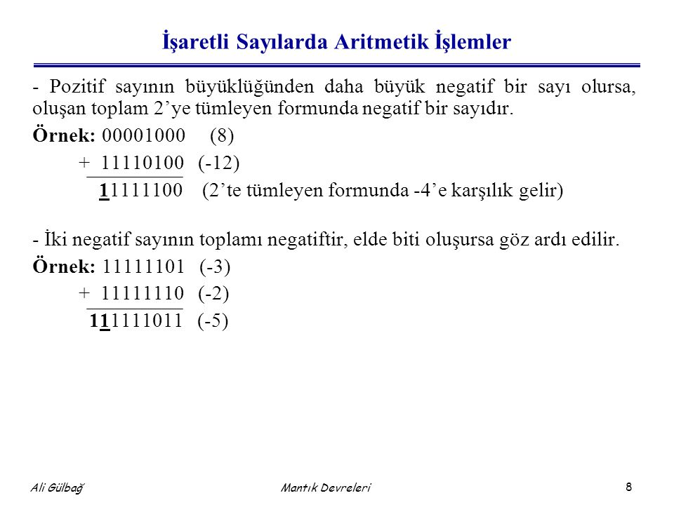 İşaretli Sayılarda Aritmetik İşlemler