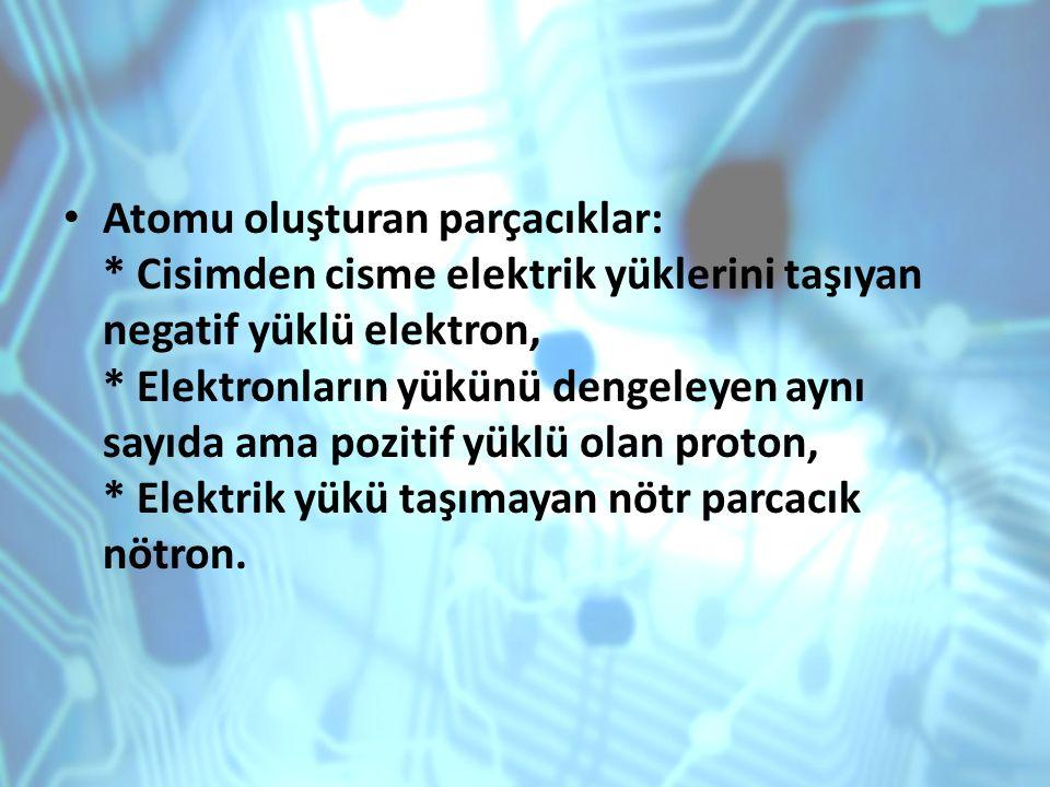 Atomu oluşturan parçacıklar: