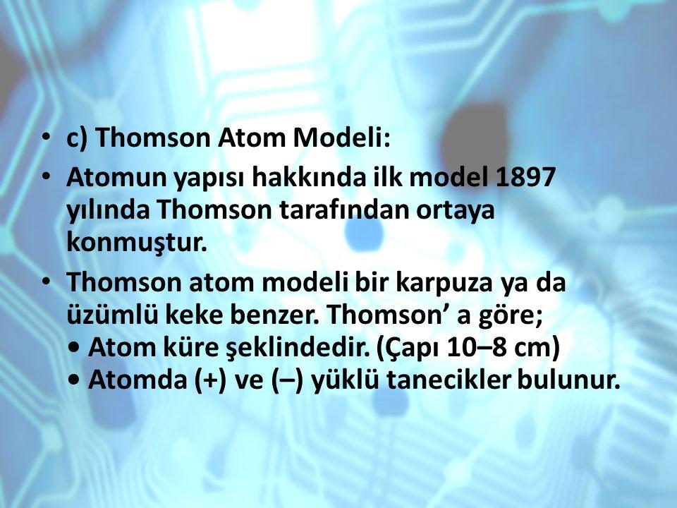 c) Thomson Atom Modeli:
