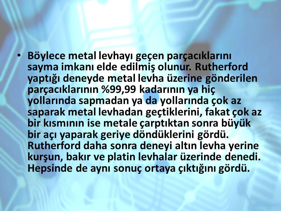 Böylece metal levhayı geçen parçacıklarını sayma imkanı elde edilmiş olunur.