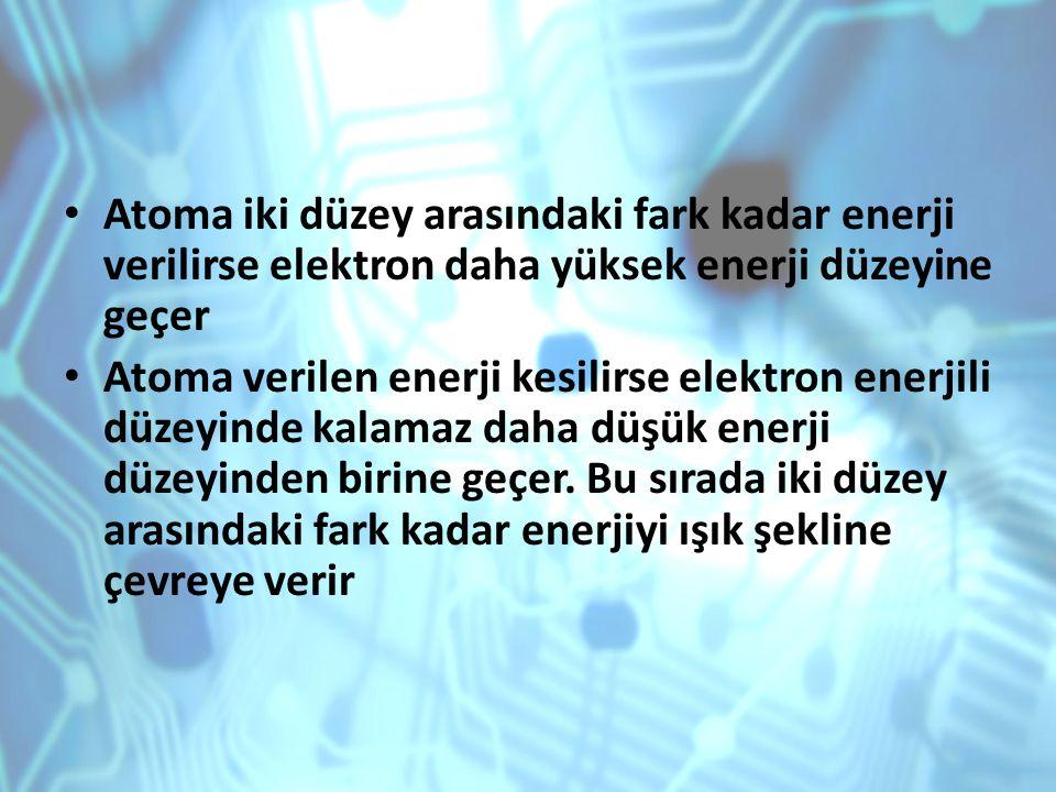 Atoma iki düzey arasındaki fark kadar enerji verilirse elektron daha yüksek enerji düzeyine geçer
