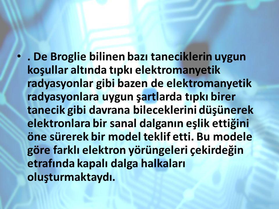 De Broglie bilinen bazı taneciklerin uygun koşullar altında tıpkı elektromanyetik radyasyonlar gibi bazen de elektromanyetik radyasyonlara uygun şartlarda tıpkı birer tanecik gibi davrana bileceklerini düşünerek elektronlara bir sanal dalganın eşlik ettiğini öne sürerek bir model teklif etti.