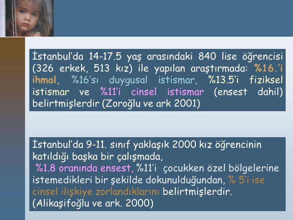İstanbul'da 14-17.5 yaş arasındaki 840 lise öğrencisi (326 erkek, 513 kız) ile yapılan araştırmada: %16.'i ihmal, %16'sı duygusal istismar, %13.5'i fiziksel istismar ve %11'i cinsel istismar (ensest dahil) belirtmişlerdir (Zoroğlu ve ark 2001)