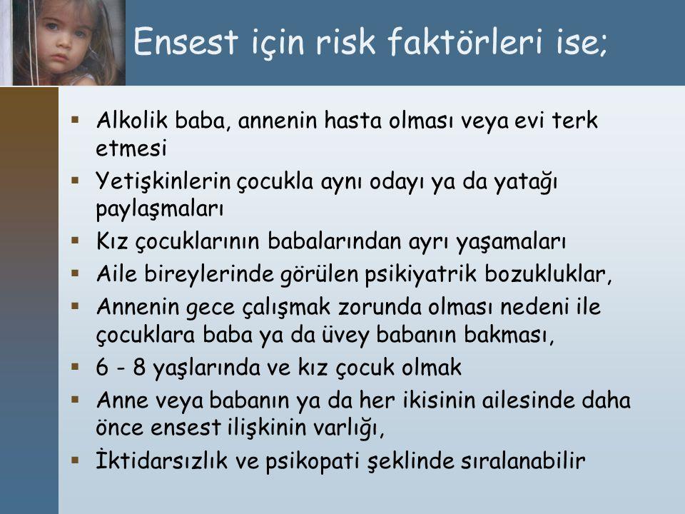 Ensest için risk faktörleri ise;
