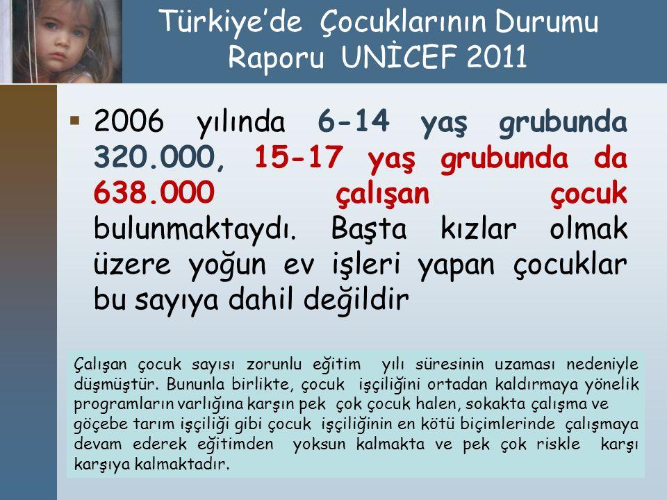 Türkiye'de Çocuklarının Durumu Raporu UNİCEF 2011