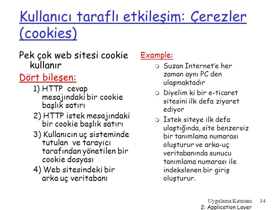 Kullanıcı taraflı etkileşim: Çerezler (cookies)