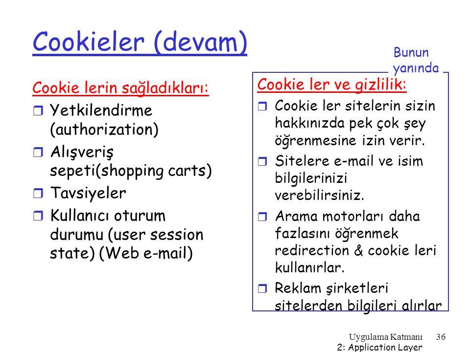 Cookieler (devam) Cookie ler ve gizlilik: Cookie lerin sağladıkları: