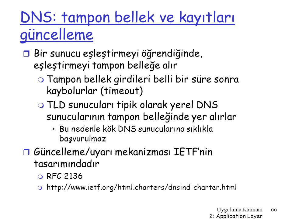 DNS: tampon bellek ve kayıtları güncelleme