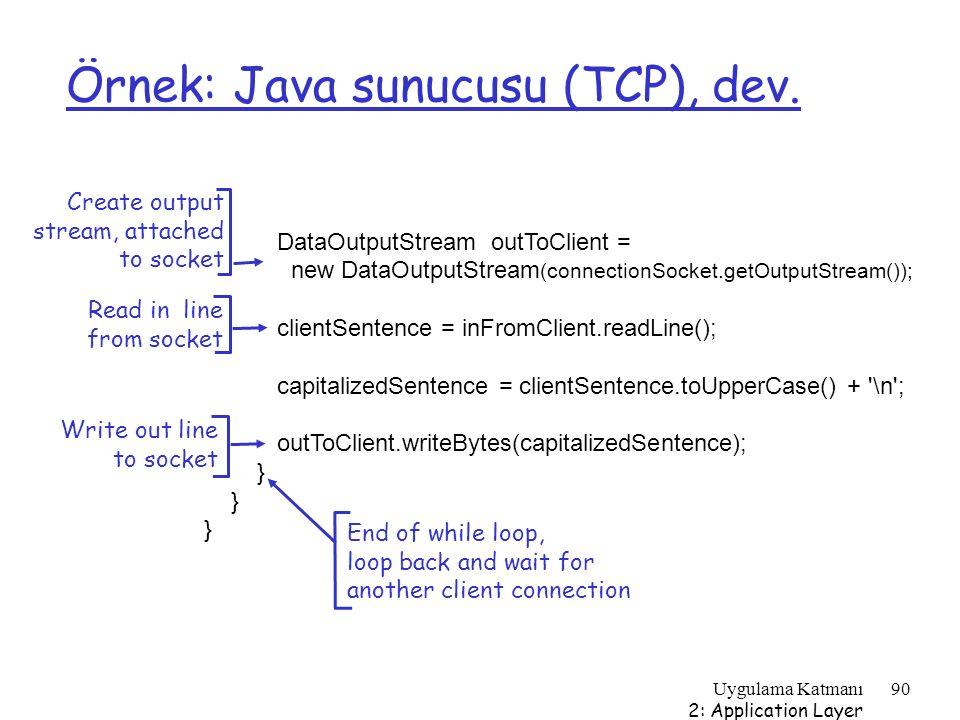 Örnek: Java sunucusu (TCP), dev.