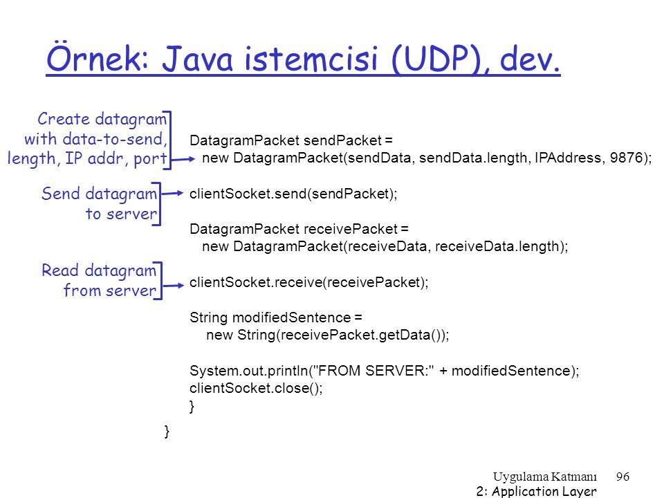 Örnek: Java istemcisi (UDP), dev.