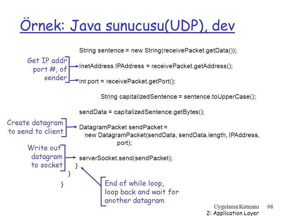 Örnek: Java sunucusu(UDP), dev