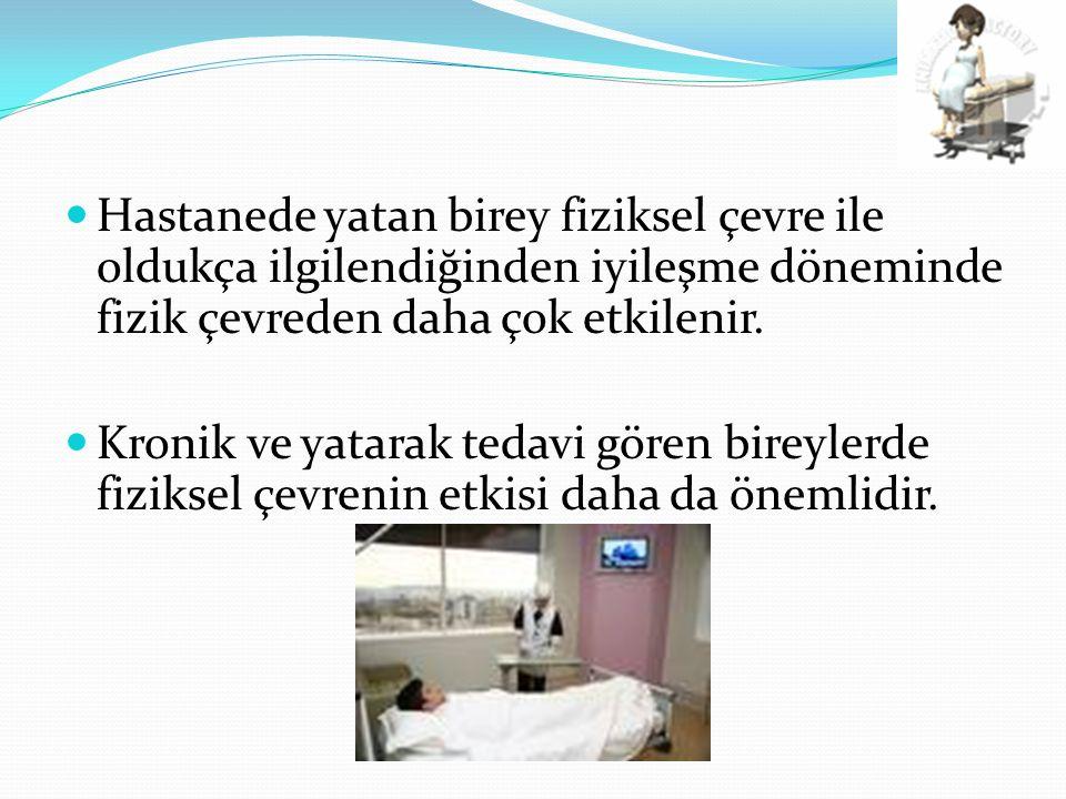Hastanede yatan birey fiziksel çevre ile oldukça ilgilendiğinden iyileşme döneminde fizik çevreden daha çok etkilenir.