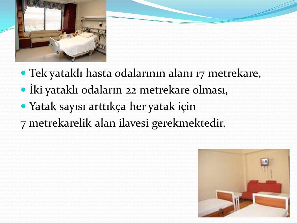 Tek yataklı hasta odalarının alanı 17 metrekare,