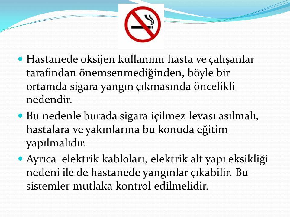 Hastanede oksijen kullanımı hasta ve çalışanlar tarafından önemsenmediğinden, böyle bir ortamda sigara yangın çıkmasında öncelikli nedendir.