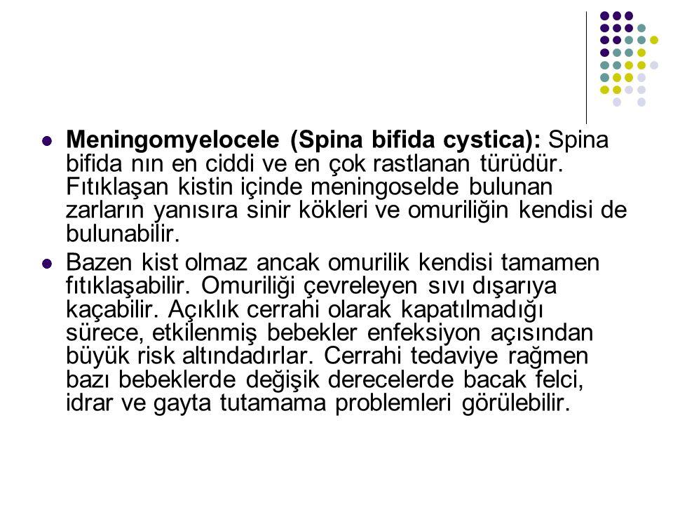 Meningomyelocele (Spina bifida cystica): Spina bifida nın en ciddi ve en çok rastlanan türüdür. Fıtıklaşan kistin içinde meningoselde bulunan zarların yanısıra sinir kökleri ve omuriliğin kendisi de bulunabilir.