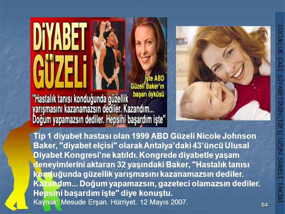 Tip 1 diyabet hastası olan 1999 ABD Güzeli Nicole Johnson Baker, diyabet elçisi olarak Antalya'daki 43'üncü Ulusal Diyabet Kongresi'ne katıldı. Kongrede diyabetle yaşam deneyimlerini aktaran 32 yaşındaki Baker, Hastalık tanısı konduğunda güzellik yarışmasını kazanamazsın dediler. Kazandım... Doğum yapamazsın, gazeteci olamazsın dediler. Hepsini başardım işte diye konuştu.